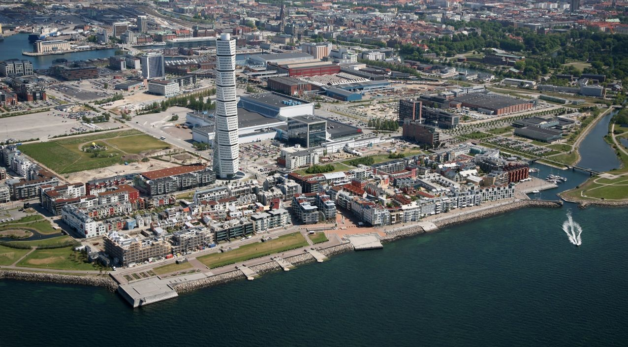 Aerial Shot of Malmo, Sweden