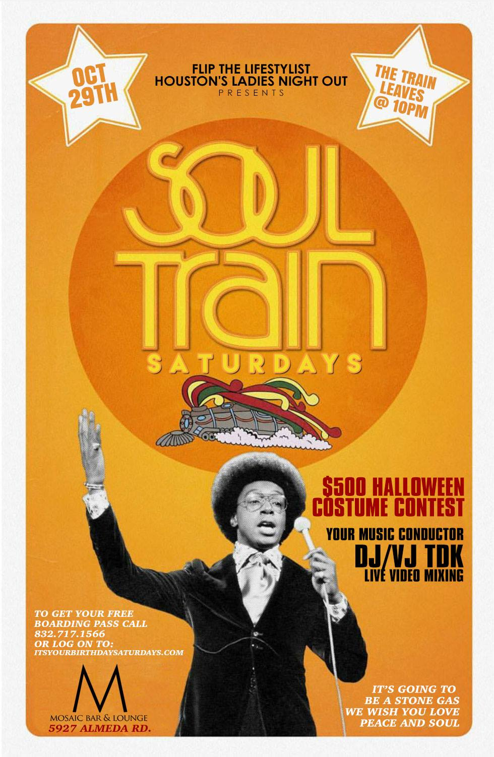 SOUL TRAIN SATURDAYS HALLOWEEN COSTUME PARTY OCTOBER 29TH Tickets ...