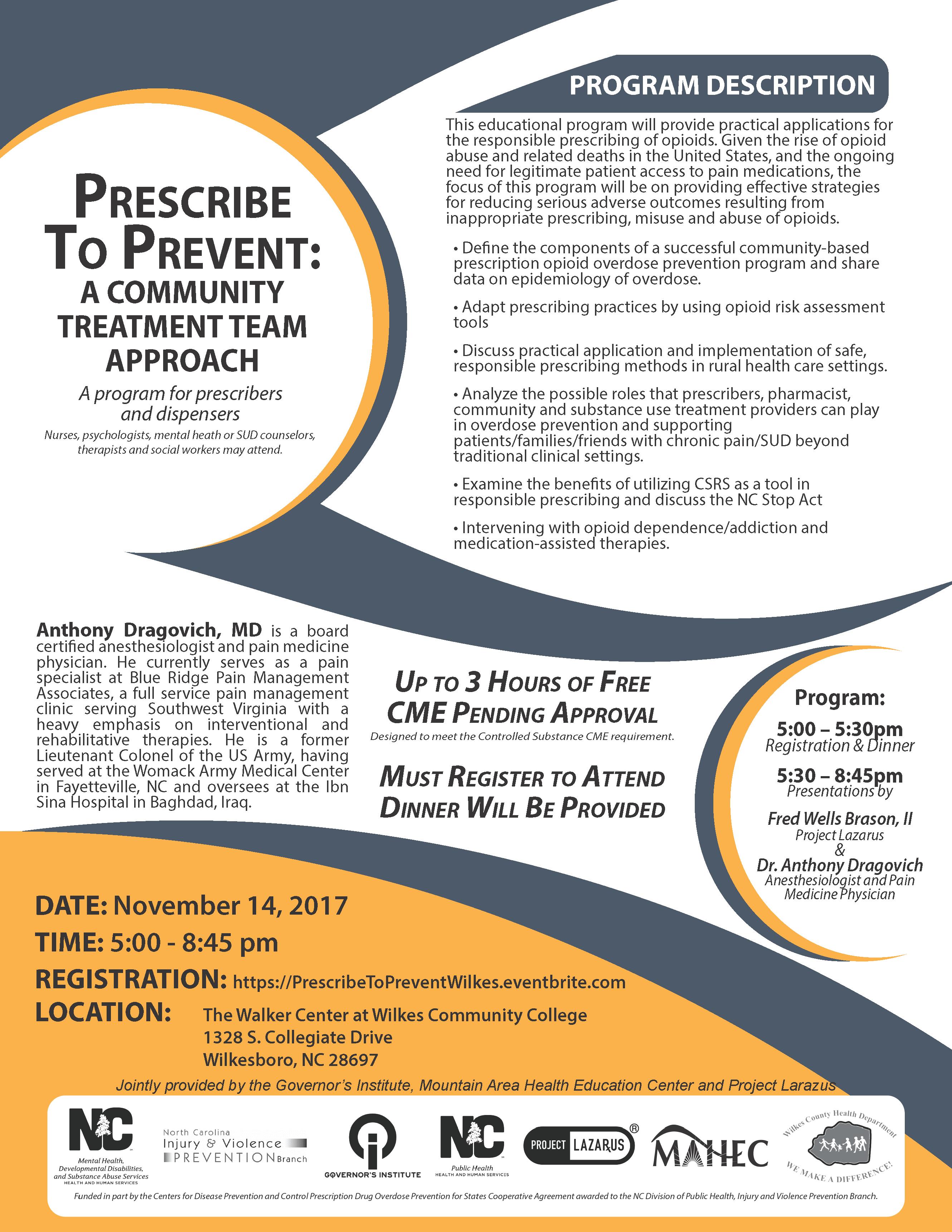Prescribe to Prevent Event Flyer