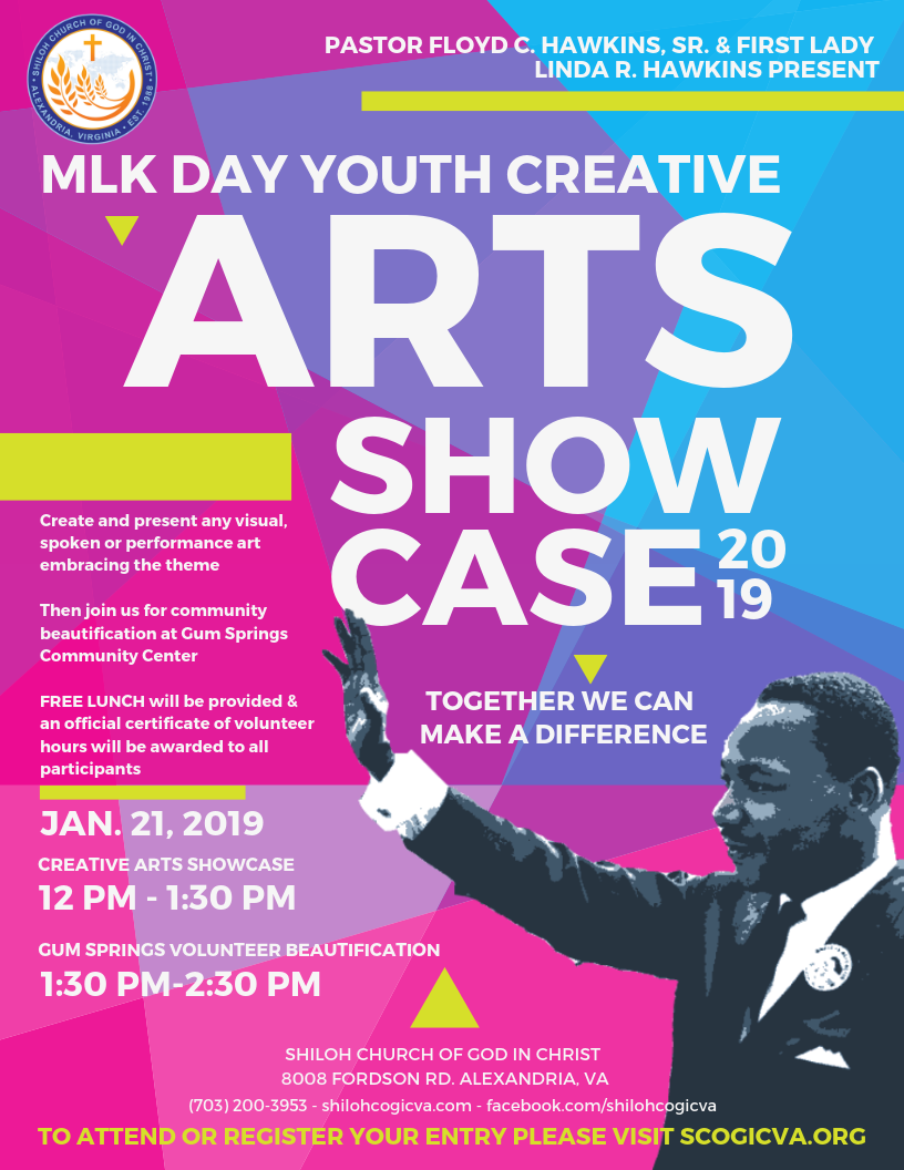 MLK Day Creative Arts Youth Showcase and Beautification Event: Together We Can Make A Difference