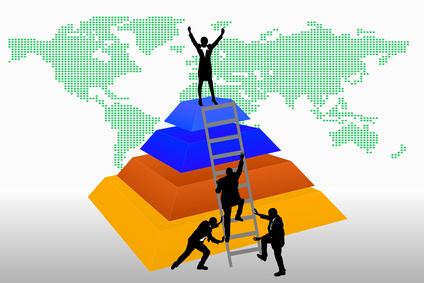 Graphic of people helping each other get to the top
