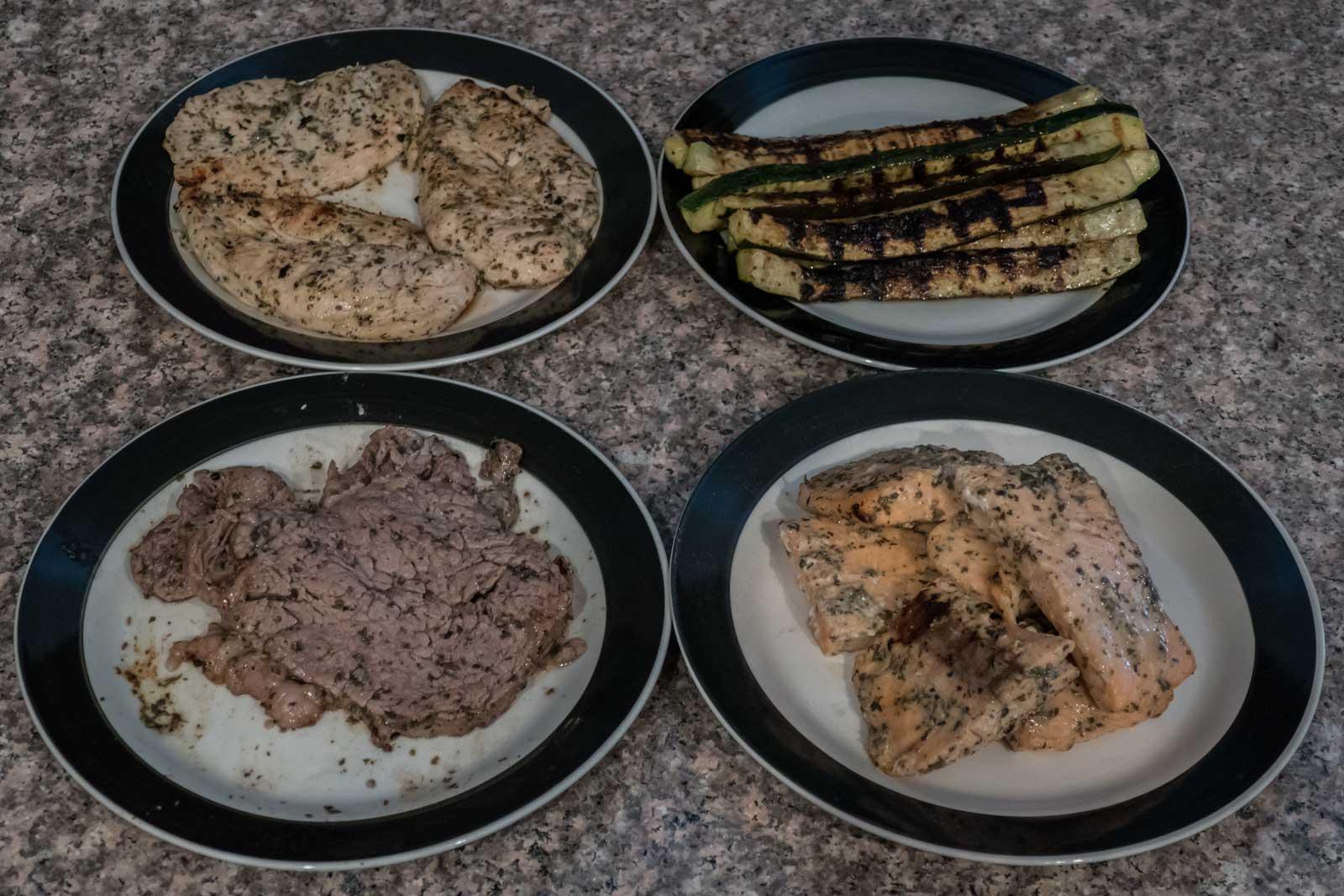 chicken, salmon, steak & zucchini