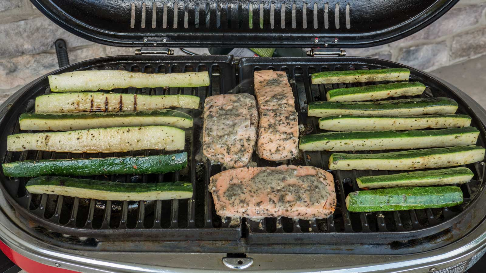 salmon & zucchini on the grill
