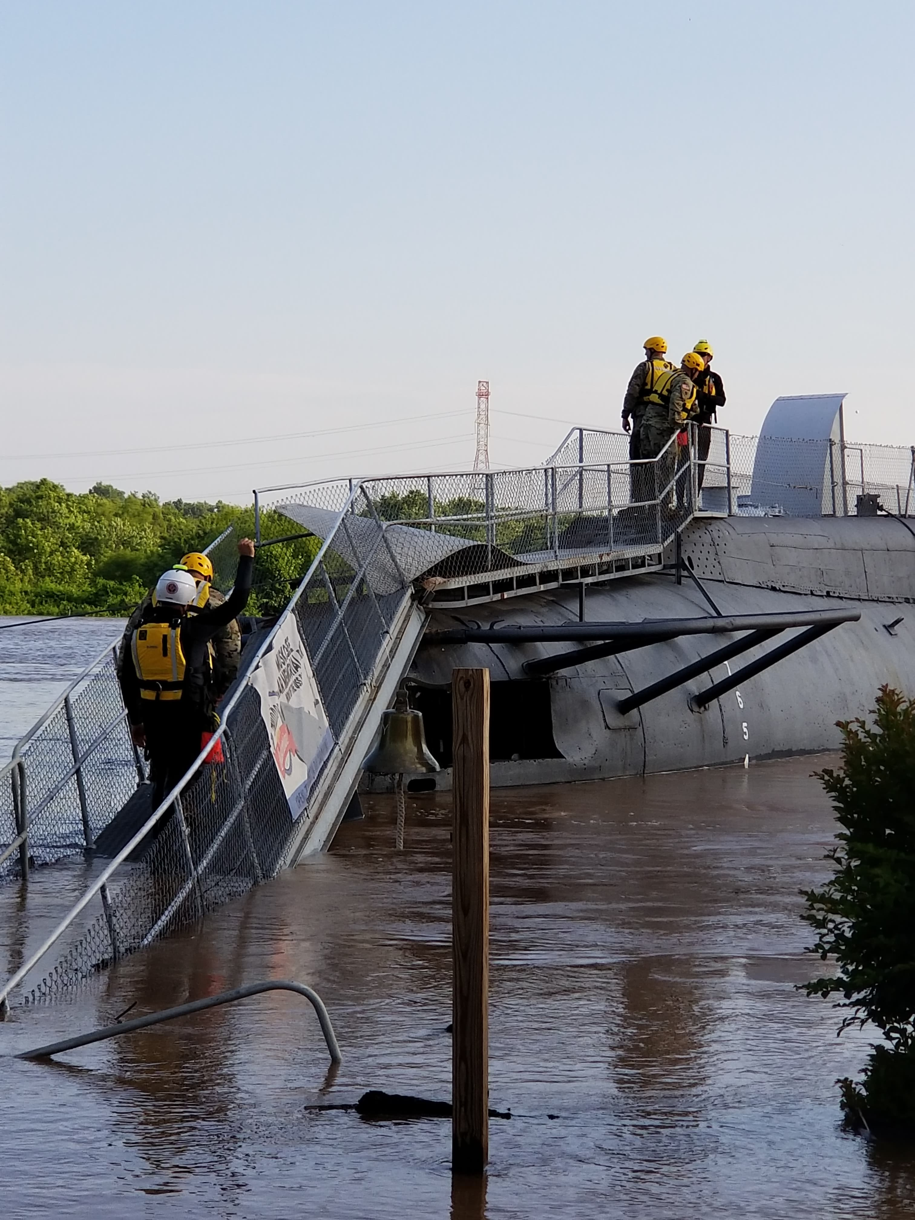 The USS Batfish at the Muskogee War Memorial Park during the flood that occurred in May 2019. The Friends of the Muskogee War Memorial Park are throwing a Trivia night with LT. Gov Matt Pinnell at the Muskogee Civic Center to raise money!