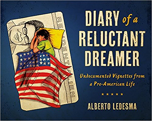 "Image of a sleeping boy covered in the American flag on top of an enlarged ""Resident Ailen"" card. Next to him are the words ""Diary of a Reluctant Dreamer: Undocumented Vignettes from a Pre-American Life. Alberto Ledesma""."
