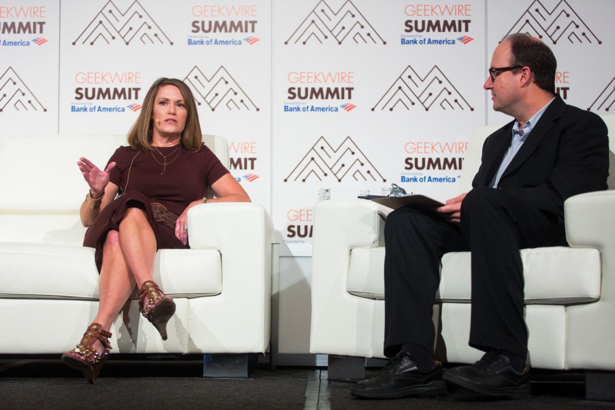 Microsoft Executive VP Peggy Johnson with GeekWire co-founder Todd Bishop at the 2016 GeekWire Summit.