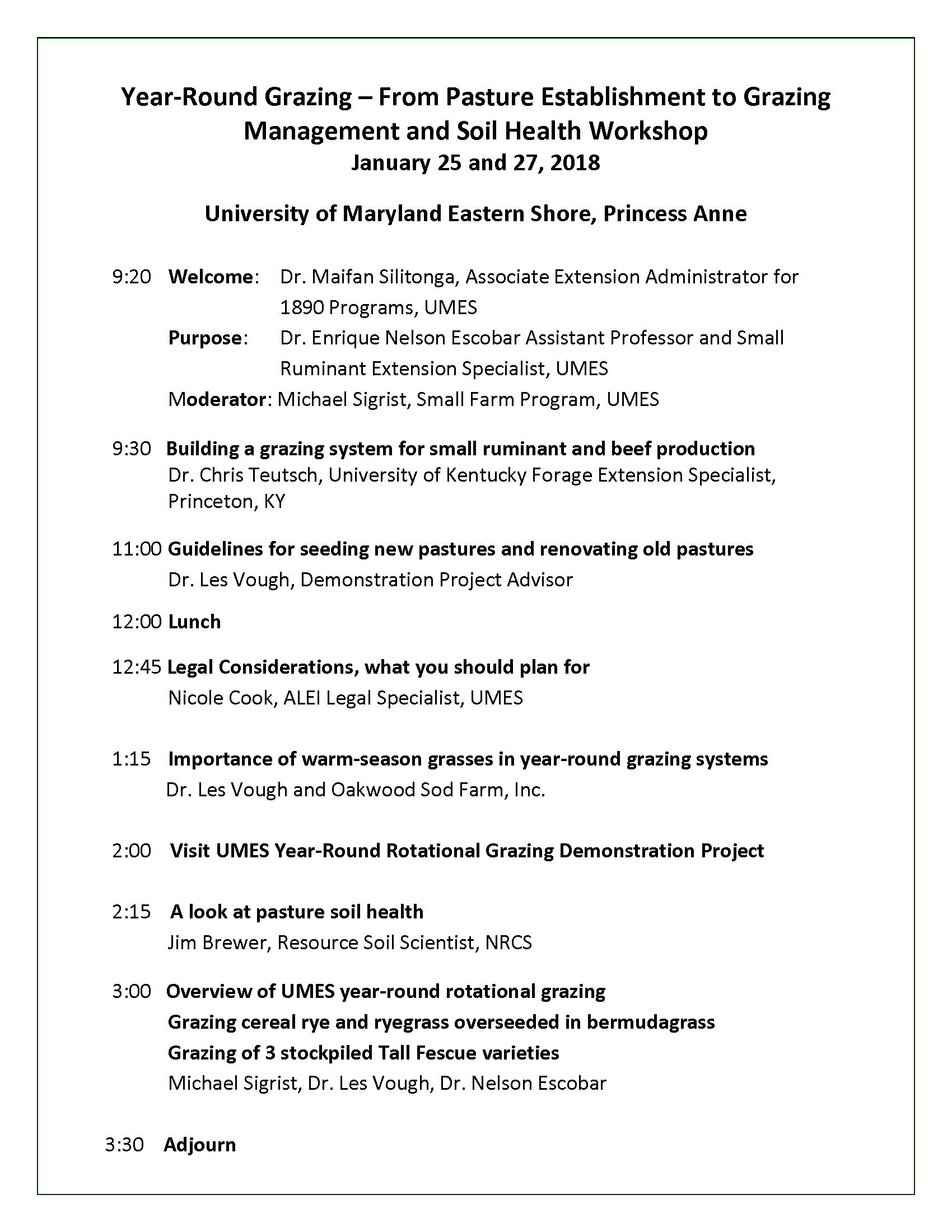 Grazing Workshop Agenda