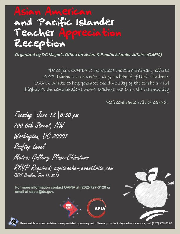 Asian American and Pacific Islander Teacher Appreciation Reception