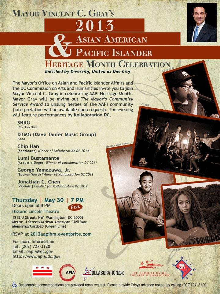Flyer for Mayor Gray's 2013 Asian American and Pacific Islander Heritage Month Celebration