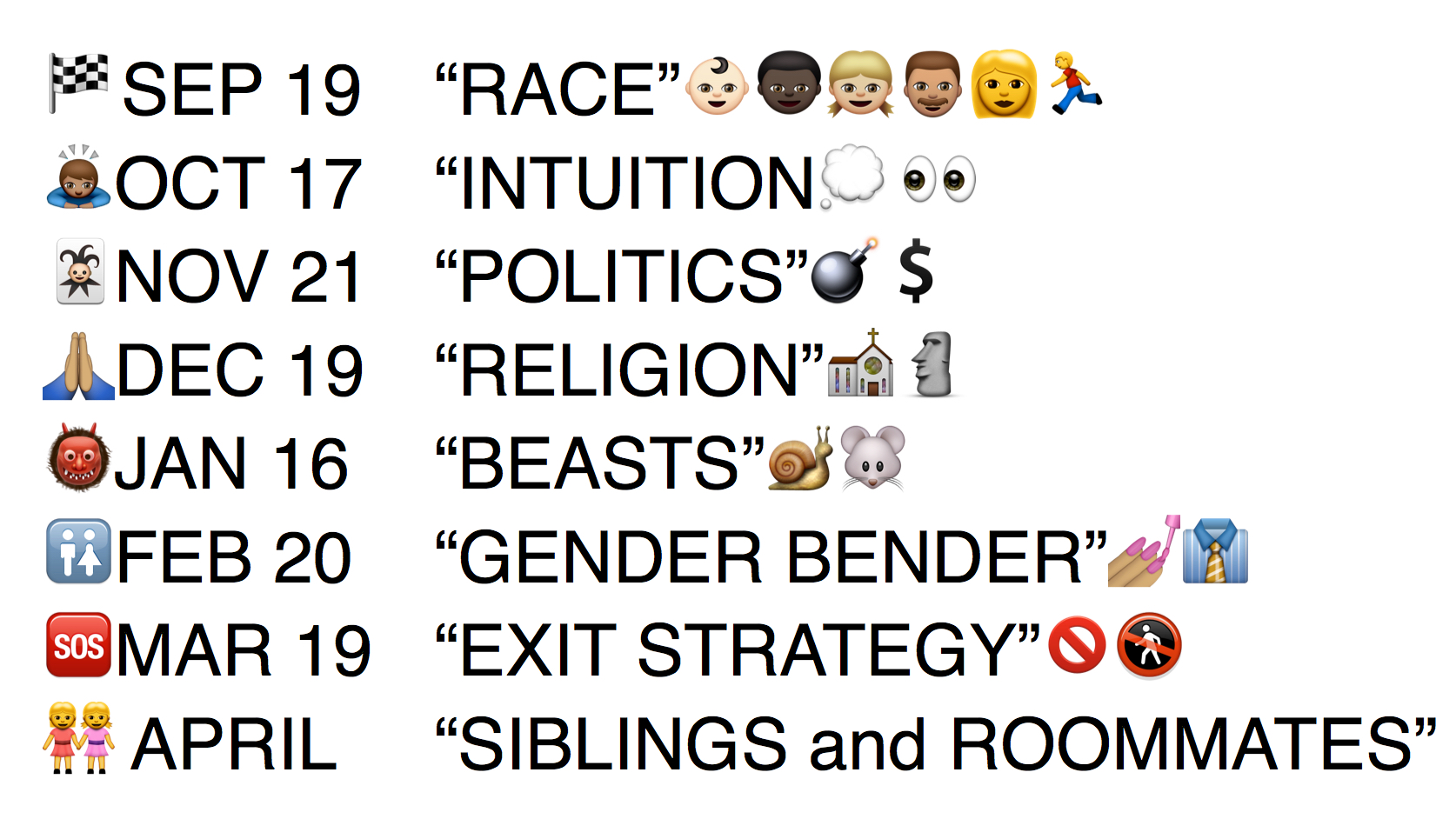 List of themes for the upcoming season 2015-16