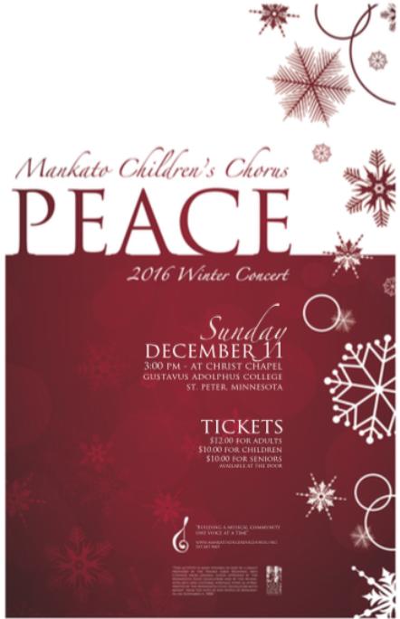 Mankato Children's Chorus PEACE 2016 Winter Concert flyer image