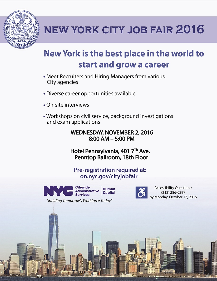 New york city job fair 2016 in new york the 1 resource for Events going on in new york city
