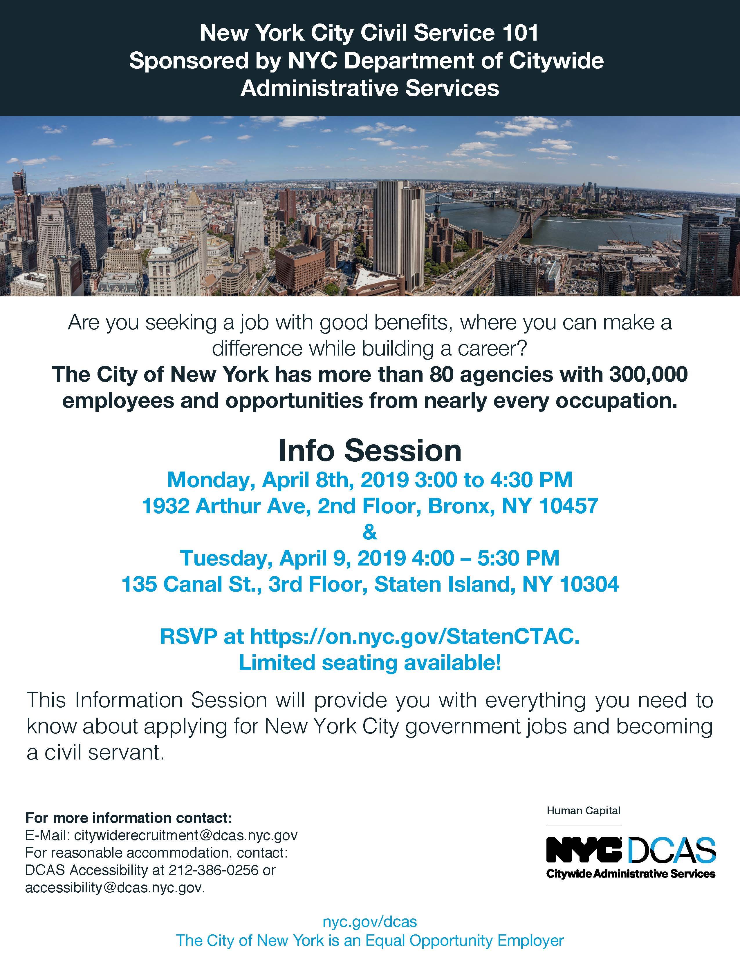 NYC DCAS Information Session - Monday April 8th, 2019 and Tuesday April 9,2019