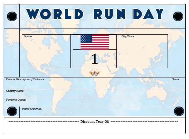 Official WORLD RUN DAY USA BIB