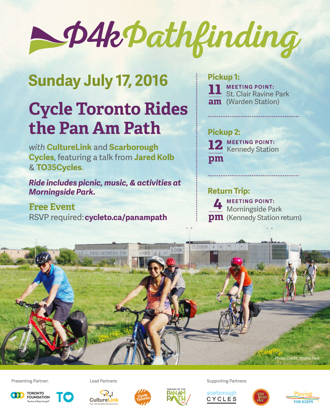 P4K Pathfinding: Cycle Toronto Rides the Pan Am Path July 17