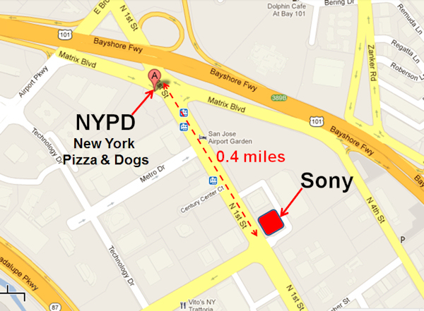 Map to NYPD Pizza & Dogs