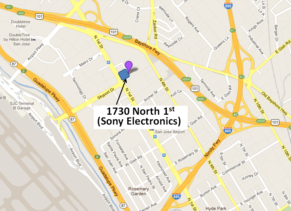 Map to Sony Electronics in San Jose