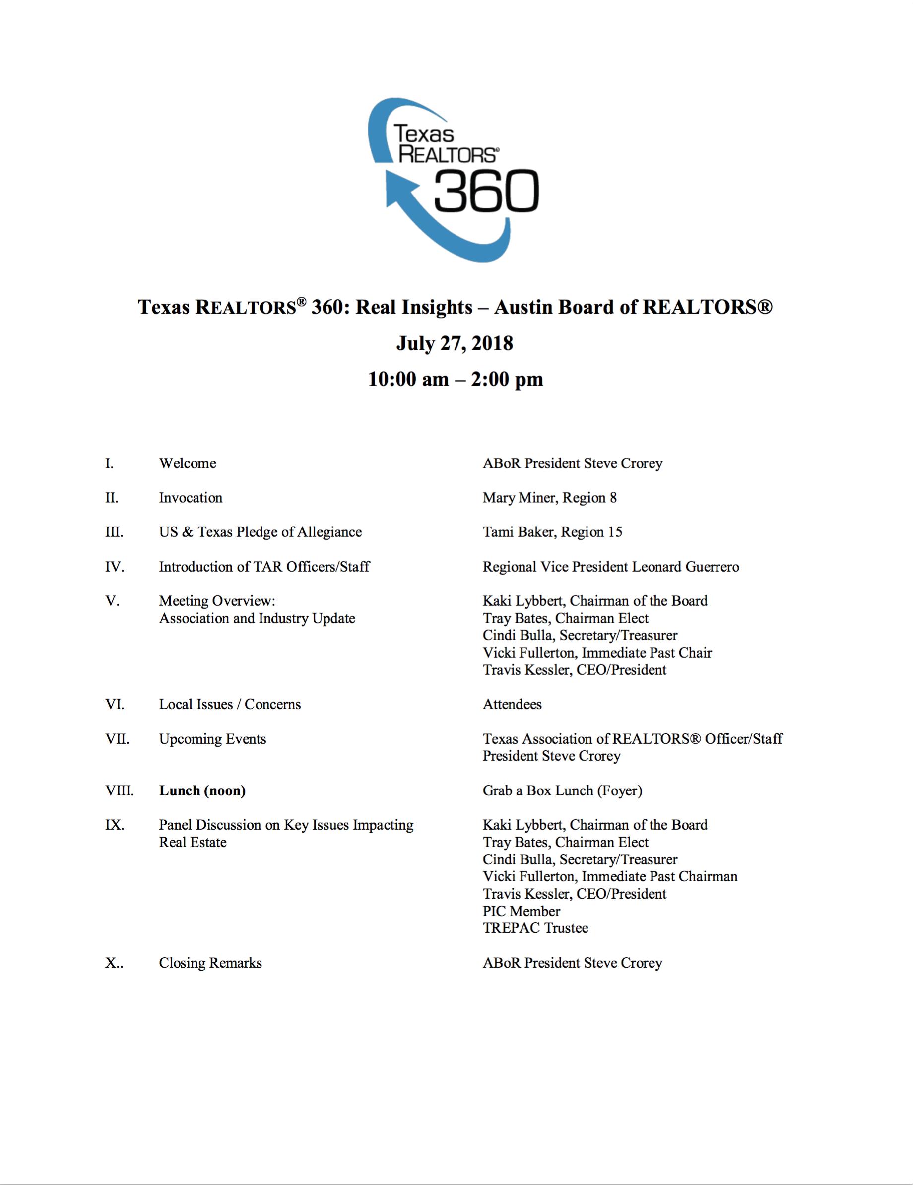 2018 Texas REALTORS® 360 Meeting Agenda