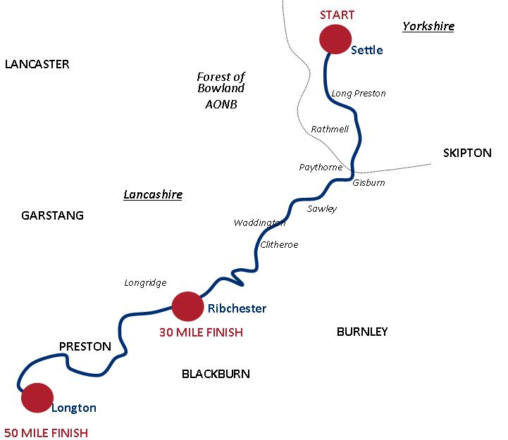 Details of the route from start to 30 mile and 50 mile finish line