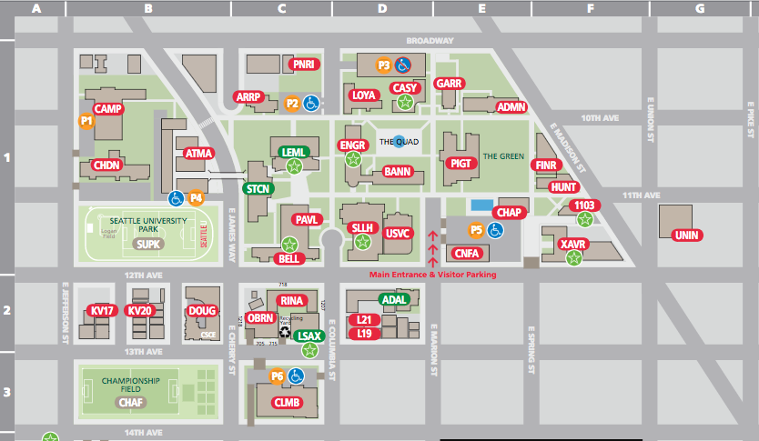 Seatle U Campus Map - Parking