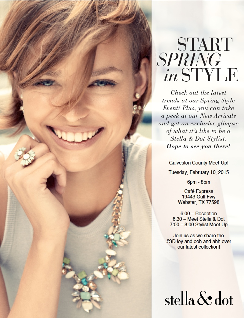Monthly galveston county stella dot meet up tickets tue for Stella and dot san francisco