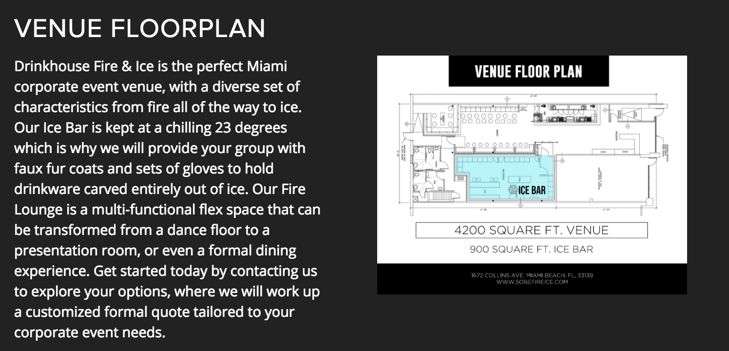 Fire & Ice Holiday Party Miami Floor Plan