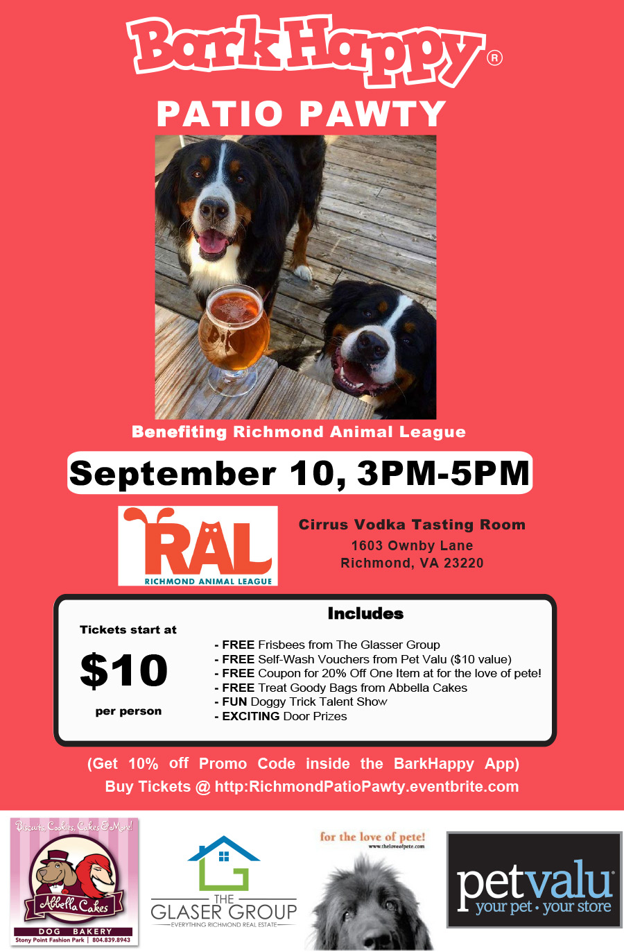 Barkhappy richmond patio pawty benefiting richmond animal league tags solutioingenieria Choice Image
