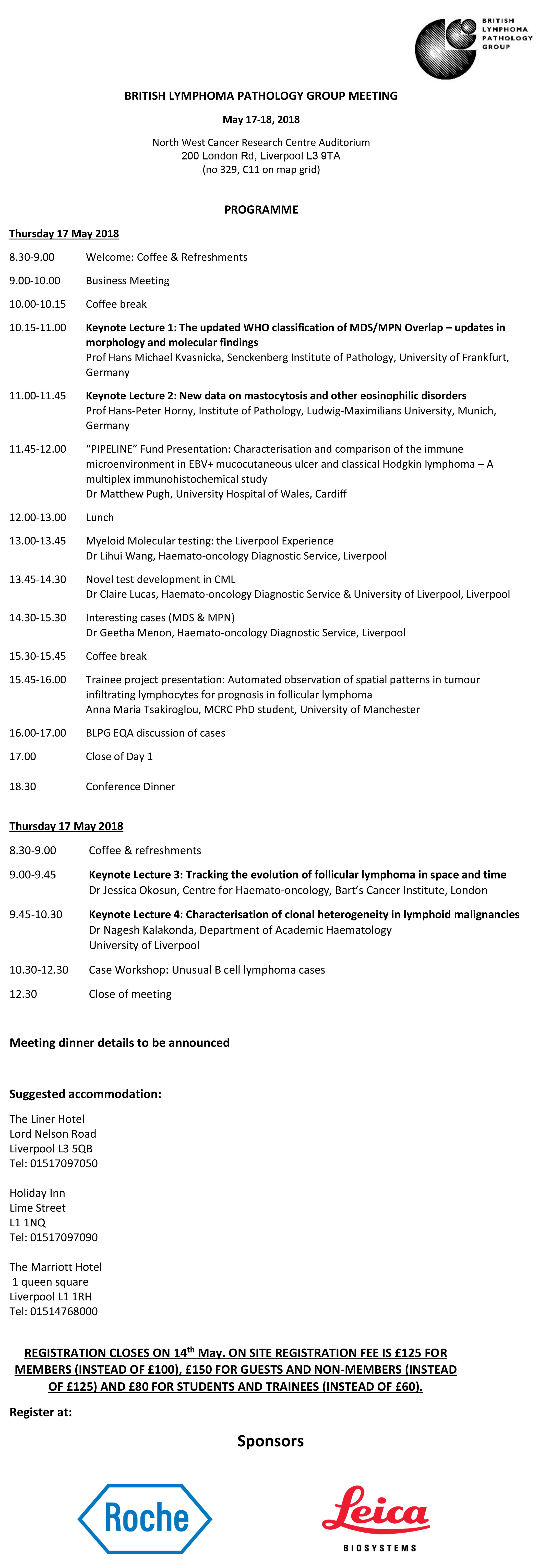 BLPG spring meeting 2018 programme