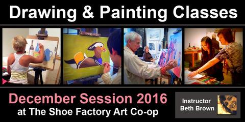 December Art Classes at the Shoe Factory Art Co-op