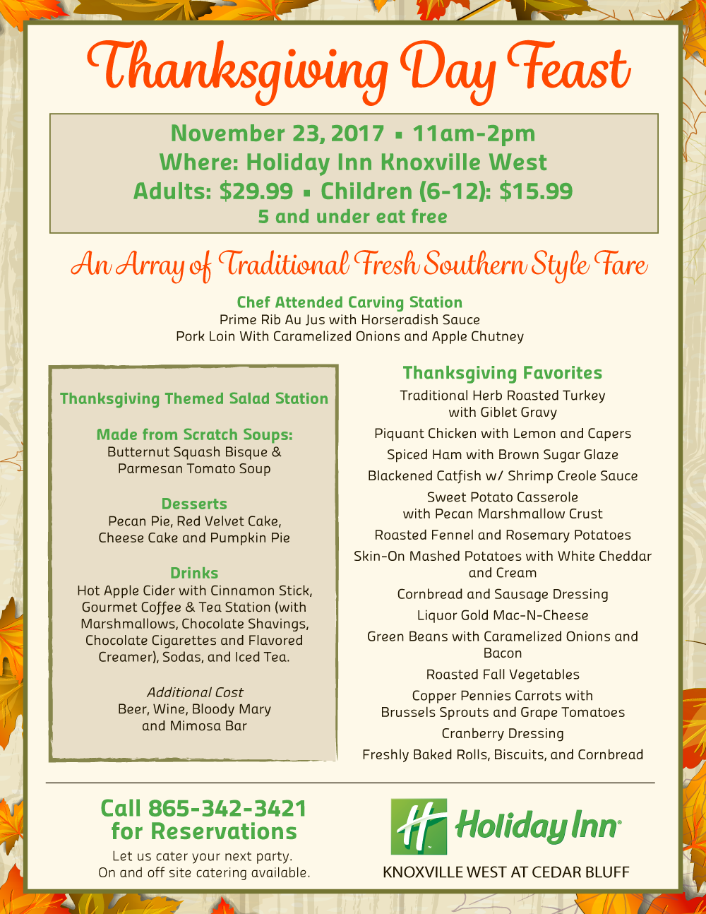 Thanksgiving Feast at the Holiday Inn Knoxville West at Cedar Bluff