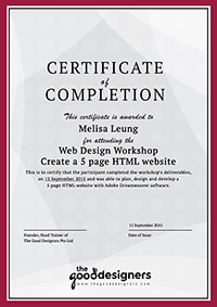 The Good Designers - Certificate of Completion