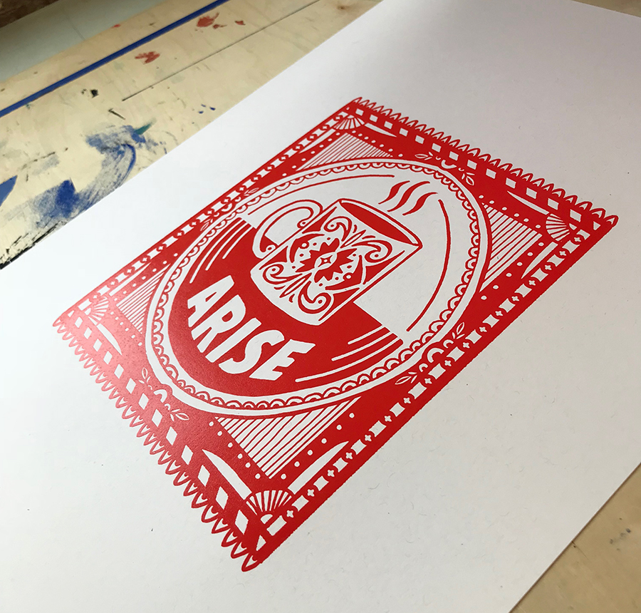 Red Coffee Cup Screen Printed Poster