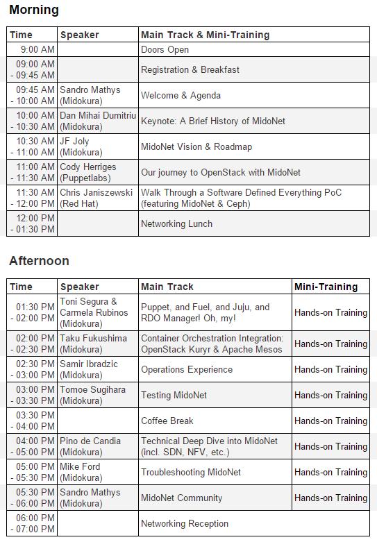 MidoDay Schedule