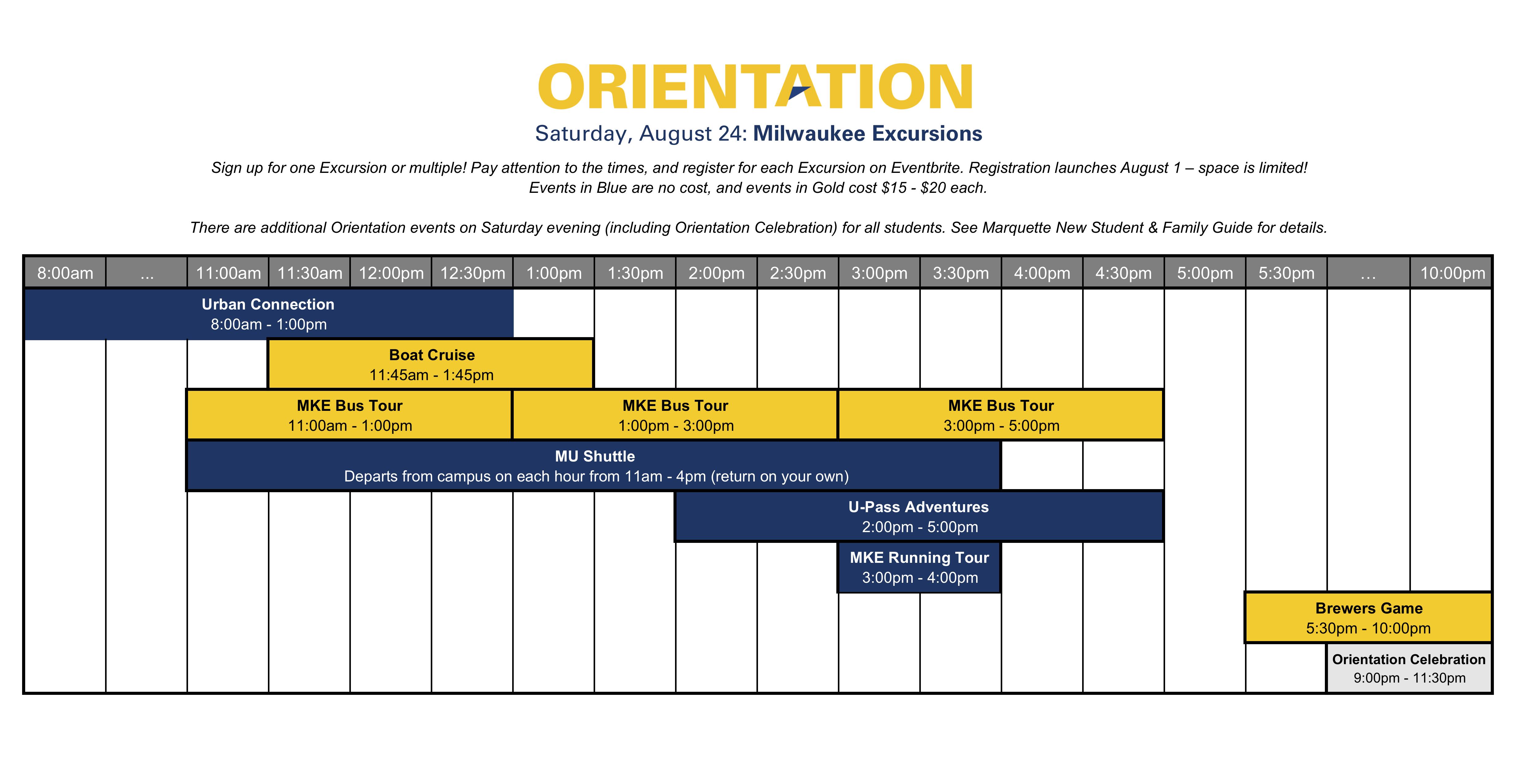 Marquette Calendar 2019 Marquette Orientation 2019   Milwaukee Excursions Tickets, Sat