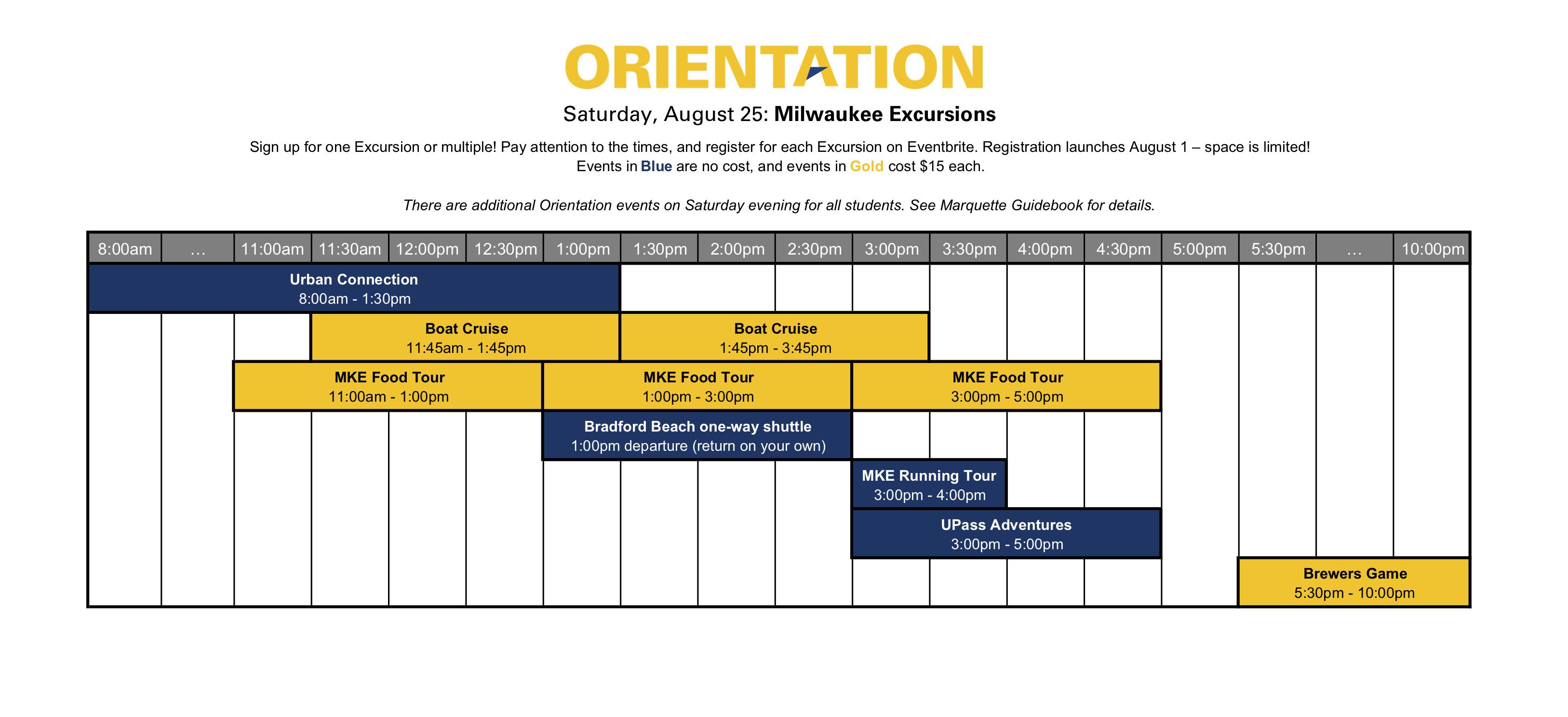 Milwaukee Excursions schedule