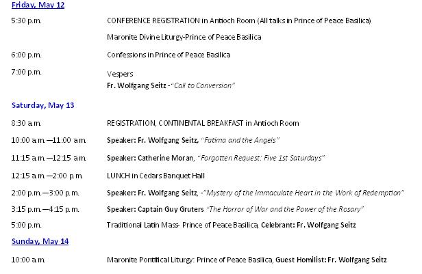 Fatima Centennial Conference 2017 Schedule