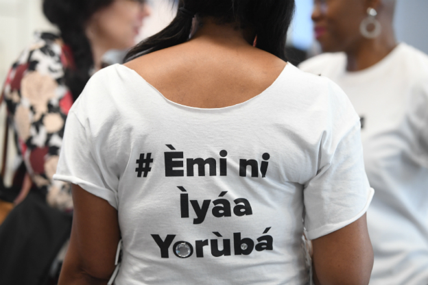 the back of the t shirt in Yoruba