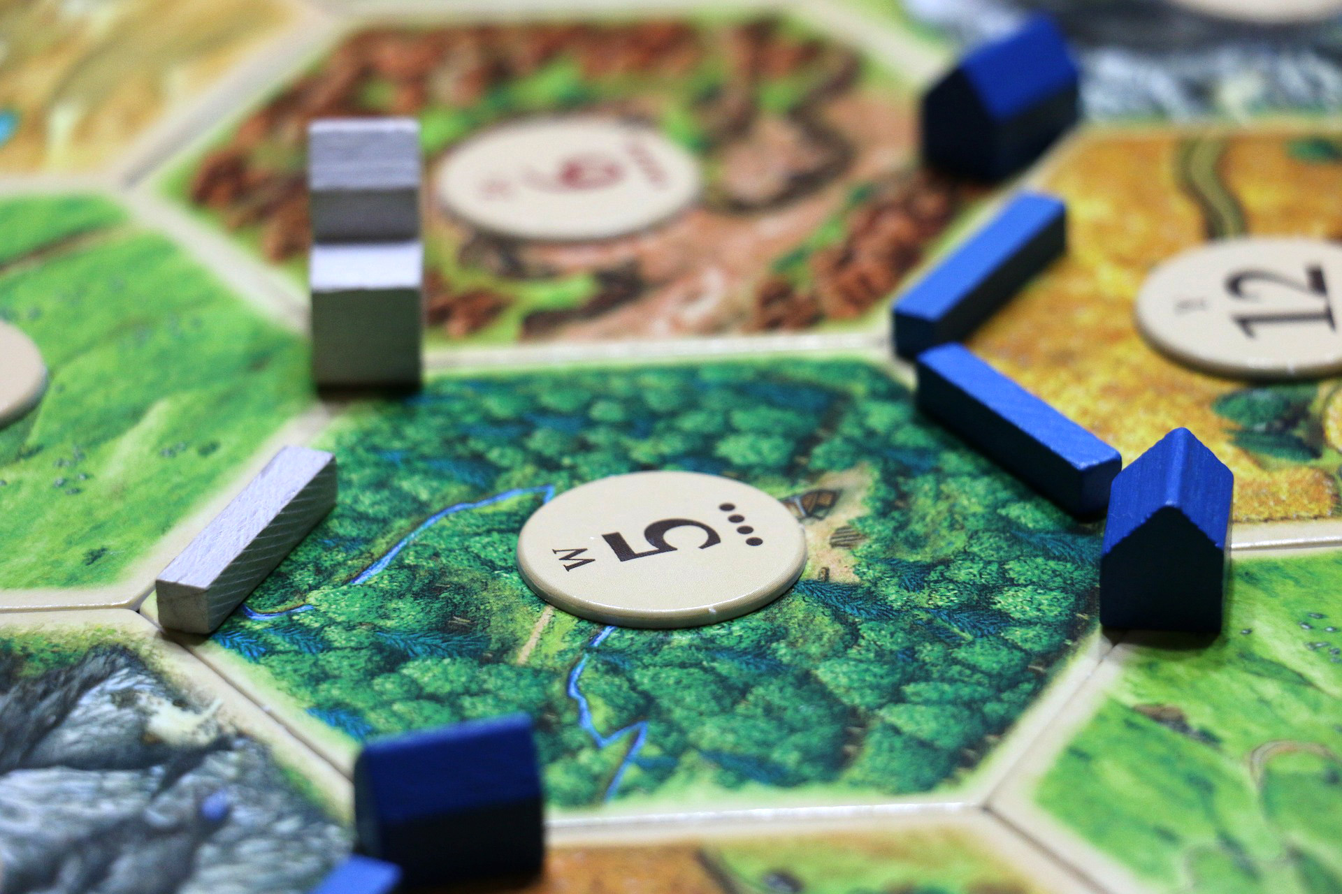 Close-up of Settlers of Catan