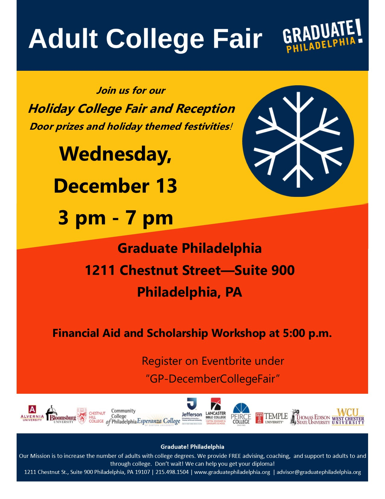 adult college fair and holiday reception tickets wed  tags