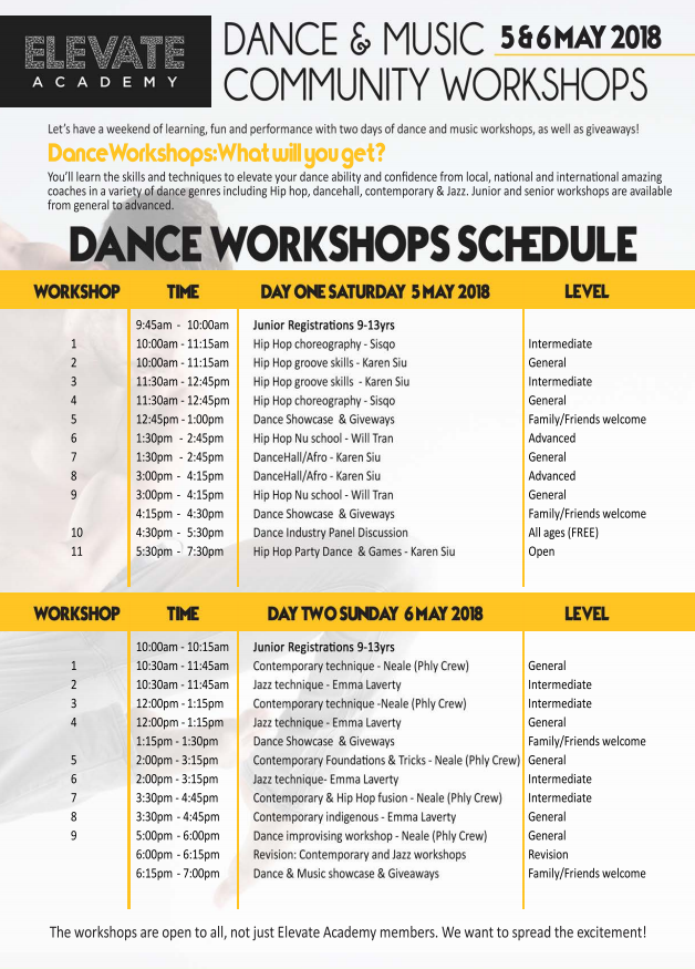 Elevate Academy 18 Dance Workshops