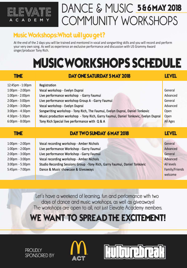 Elevate Academy 18 Music Workshops