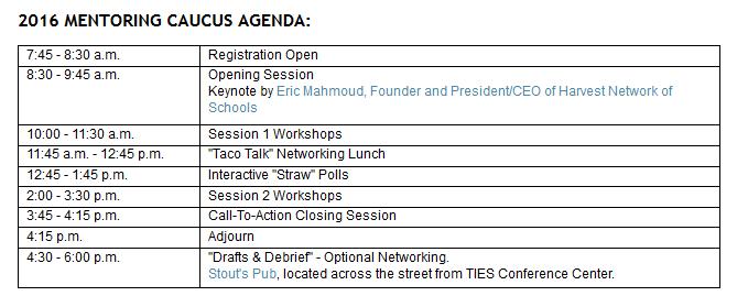 2016 Mentoring Caucus Agenda