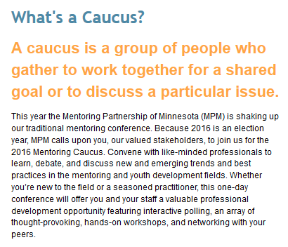 2016 Mentoring Caucus Description