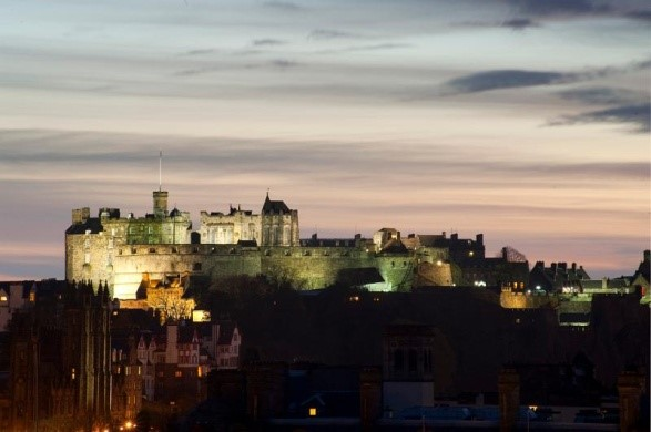 Floodlit Edinburgh Castle
