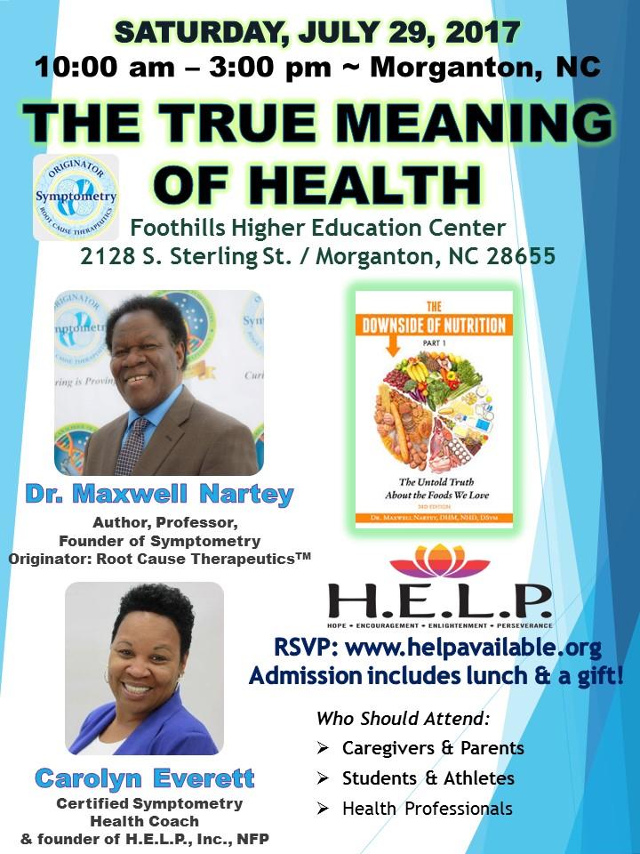 Morganton, North Carolina Symptometry Health Seminar with Dr. Maxwell Nartey