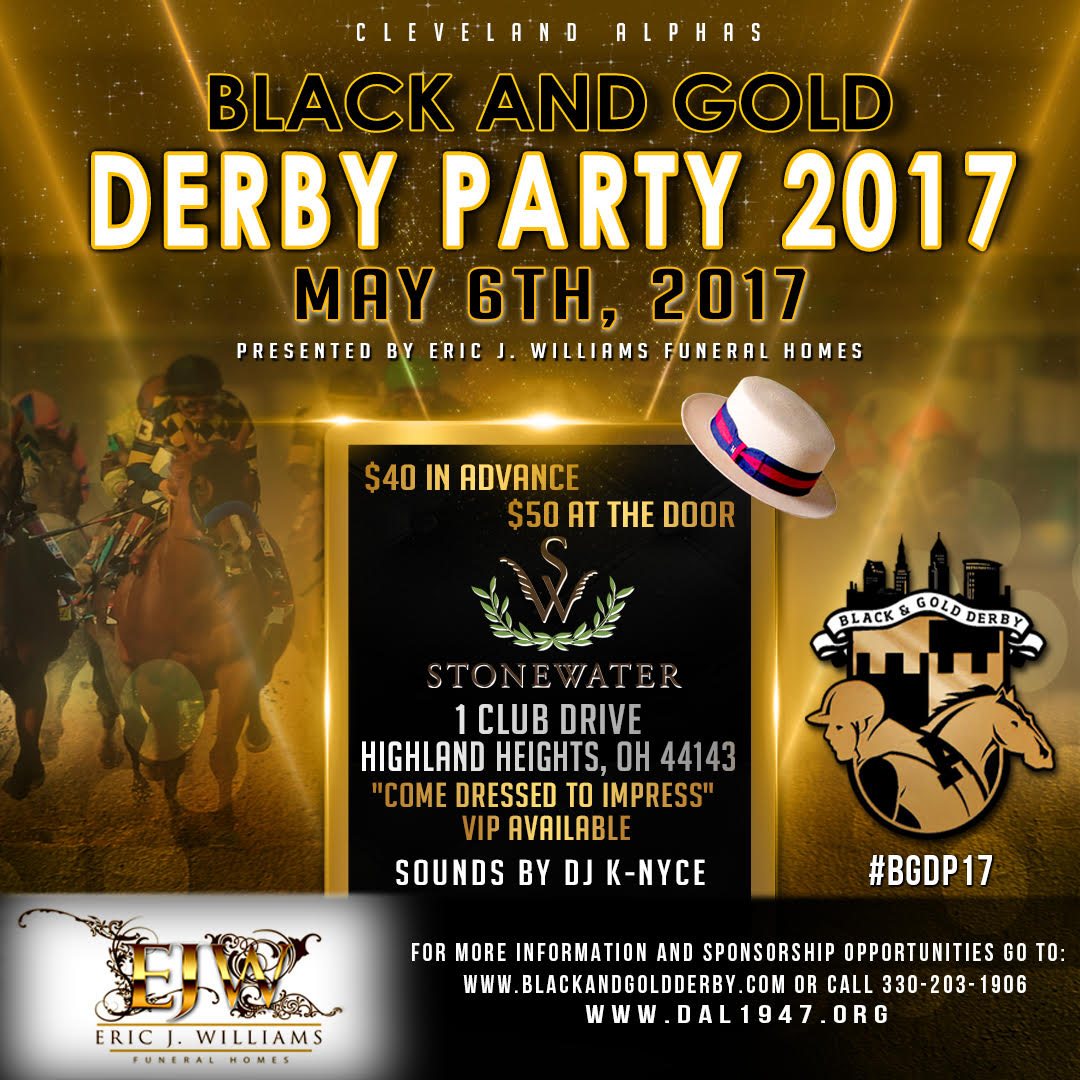 The Black and Gold Derby Party 2017 Social Media Flyer