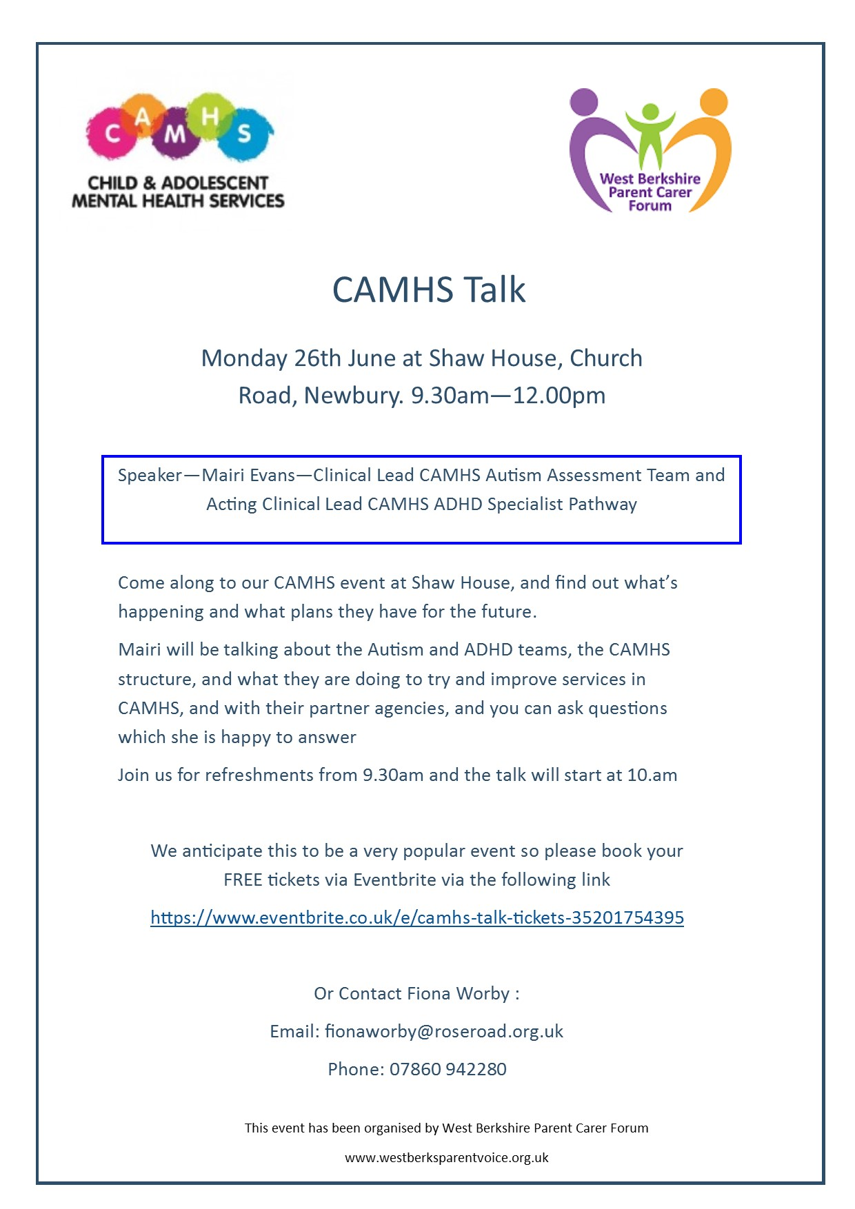 CAMHS Talk Flyer
