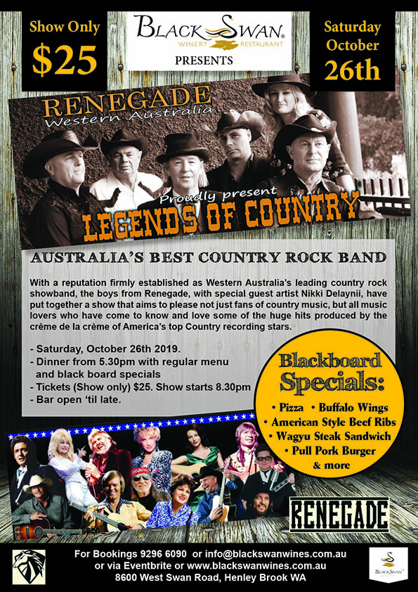 Renegades - Legends of Country at Black Swan Winery