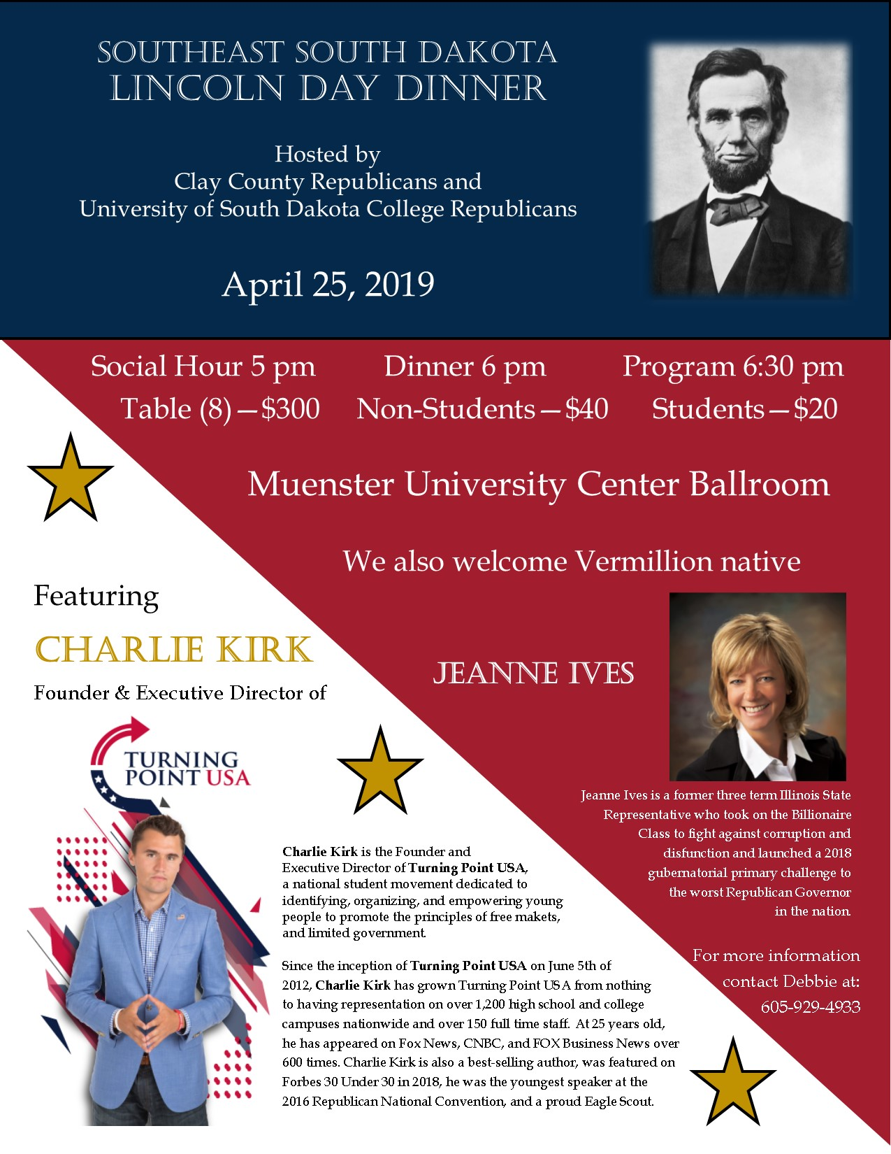 Flyer for Lincoln Day Dinner with Charlie Kirk