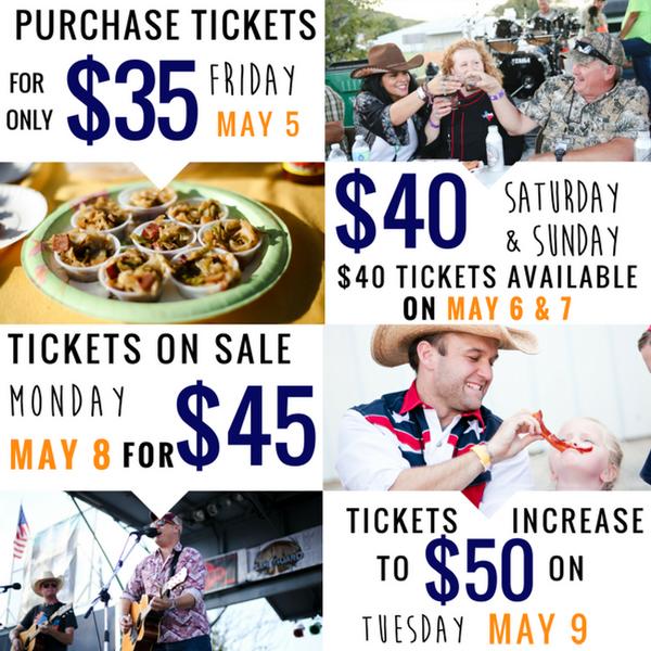 $35 on Friday, May 5; $40 on Saturday, May 6 and Sunday, May 7; $45 on Monday, May 8.  Tickets increase to $50 on Tuesday, May 9.